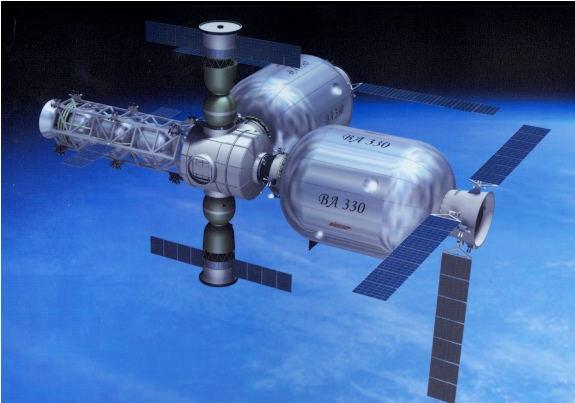 Artist impression of a Bigelow inflatable space station with two Soyuz-class Russian capsules docked.