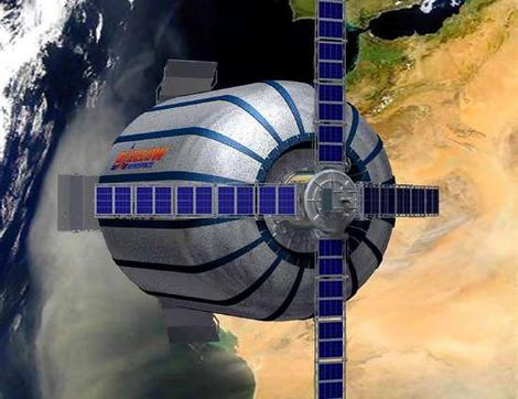 An artist impression of Genesis I in low Earth orbit. Image Credits: Bigelow Aerospace.
