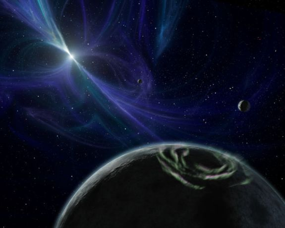 An artist's conception of PSR B1257+12's system of planets
