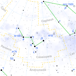 Cassiopeia constellation sky map
