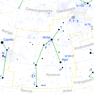 Perseus constellation sky map
