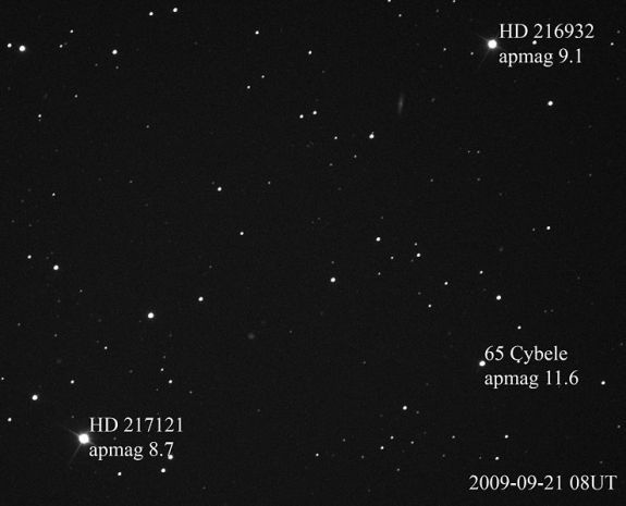 Asteroid 65 Cybele and 2 stars with their magnitudes labeled