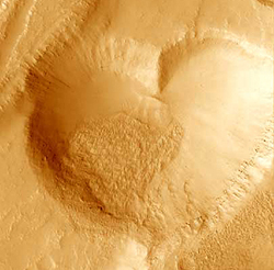 Heart-shaped crater on Mars