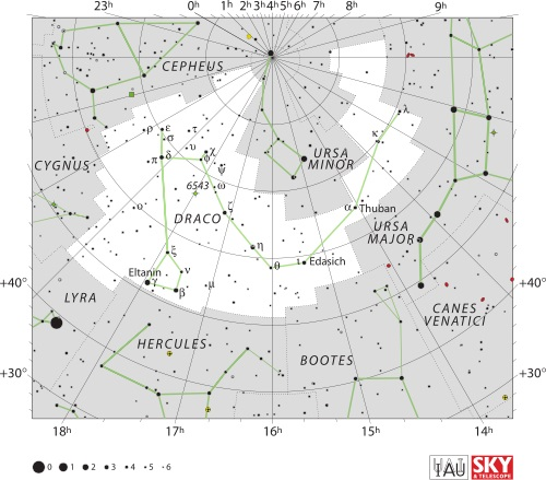 Draco constellation map. Image credit: IAU and Sky & Telescope magazine.