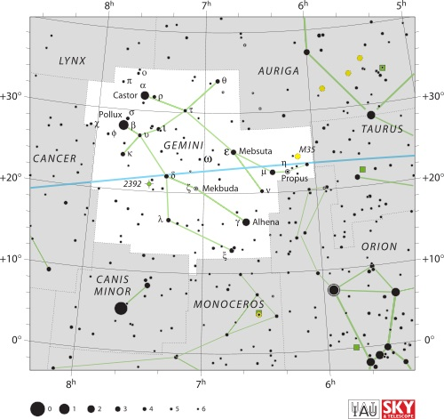 Gemini Constellation Map