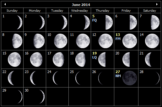 Moon Phases Calendar June 2014
