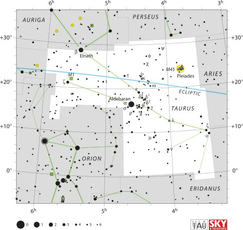Taurus Constellation Map
